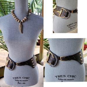 Wide Leather Belt Snakeskin Gold  M/L